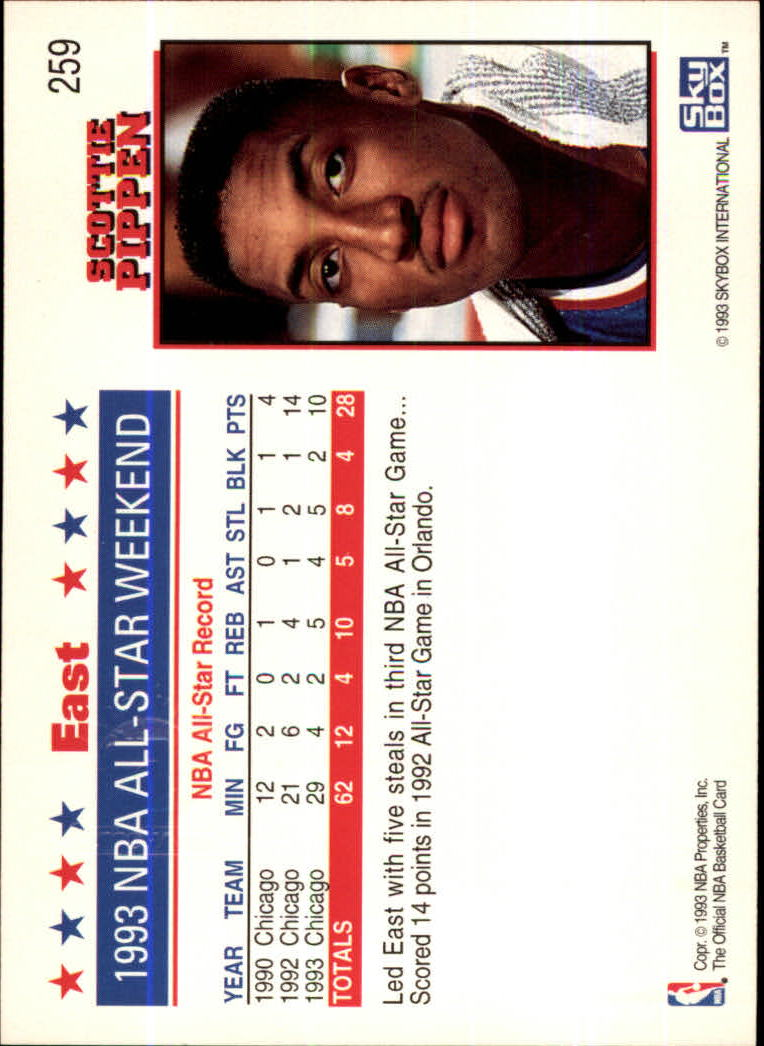 1993-94 Hoops Fifth Anniversary Gold #259 Scottie Pippen AS back image