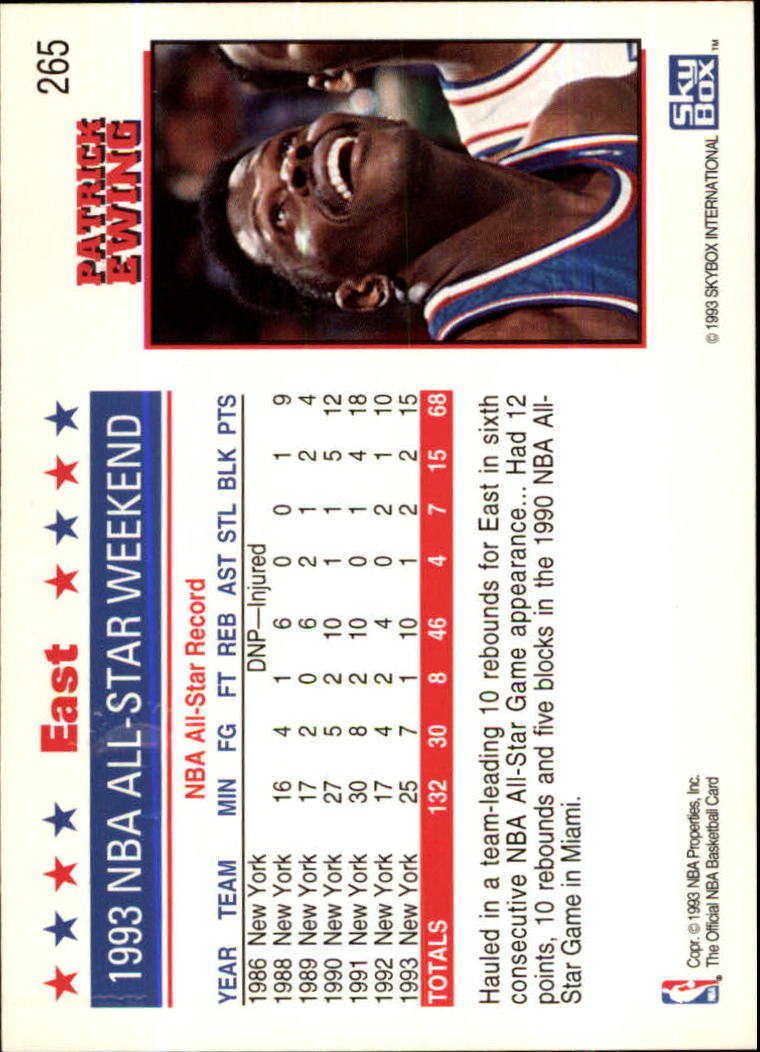 1993-94 Hoops Fifth Anniversary Gold #265 Patrick Ewing AS back image