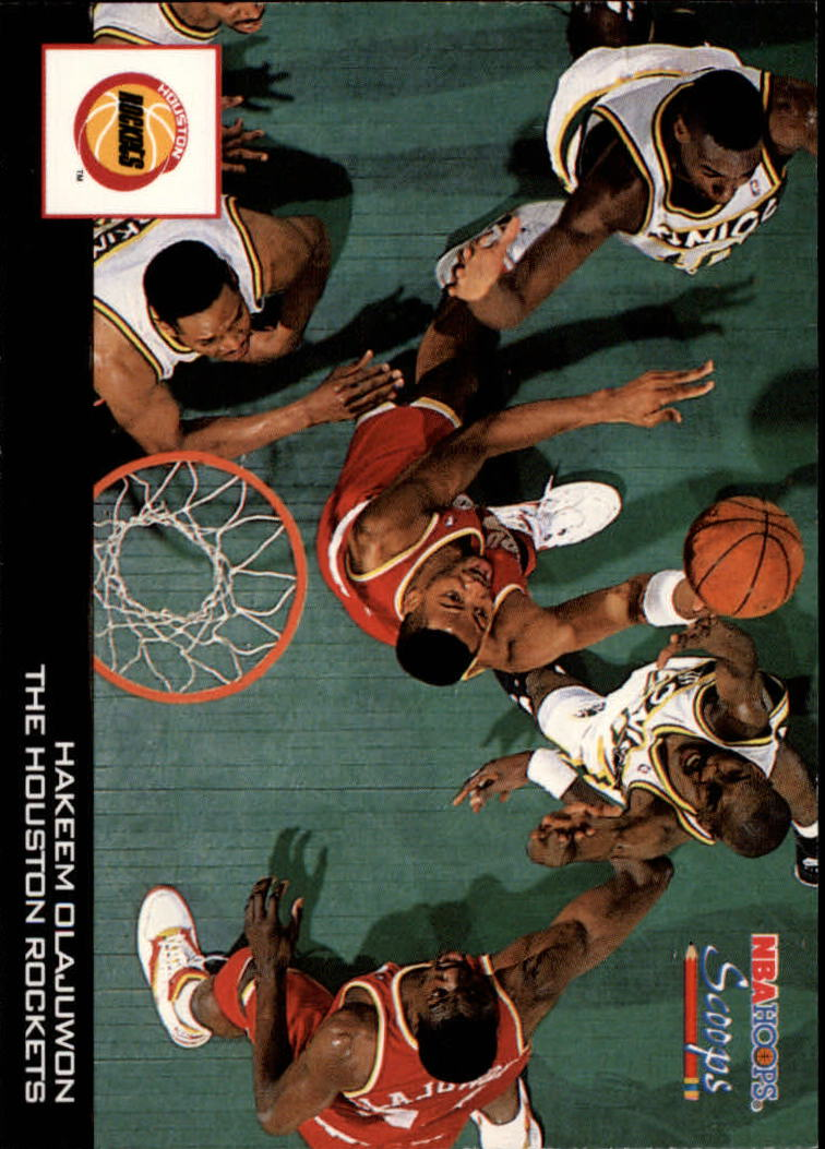 1993-94 Hoops Scoops #HS10 Hakeem Olajuwon UER/(Robert Horry is featured player)