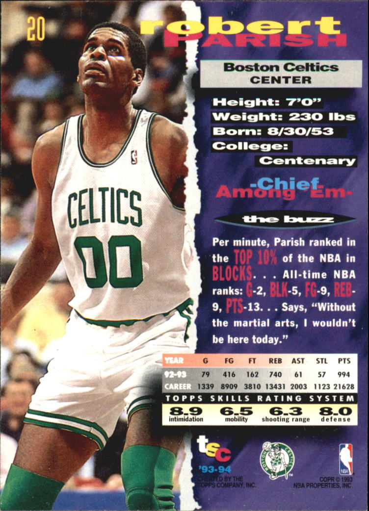 1993-94 Stadium Club Super Teams NBA Finals #20 Robert Parish back image