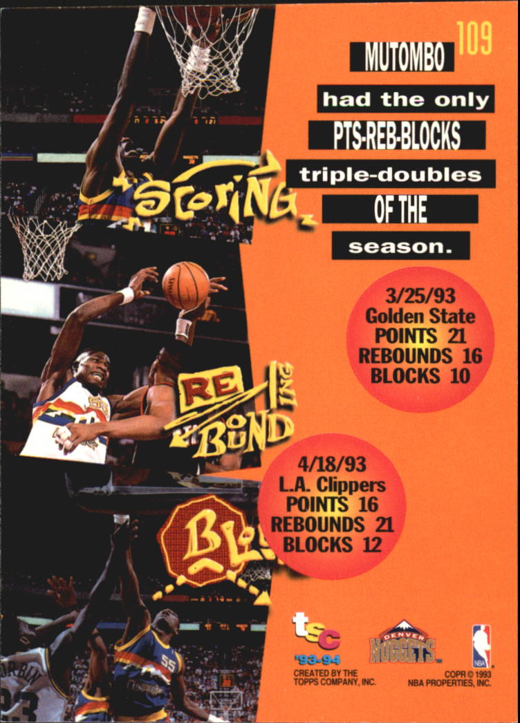 1993-94 Stadium Club Super Teams NBA Finals #109 Dikembe Mutombo TD back image