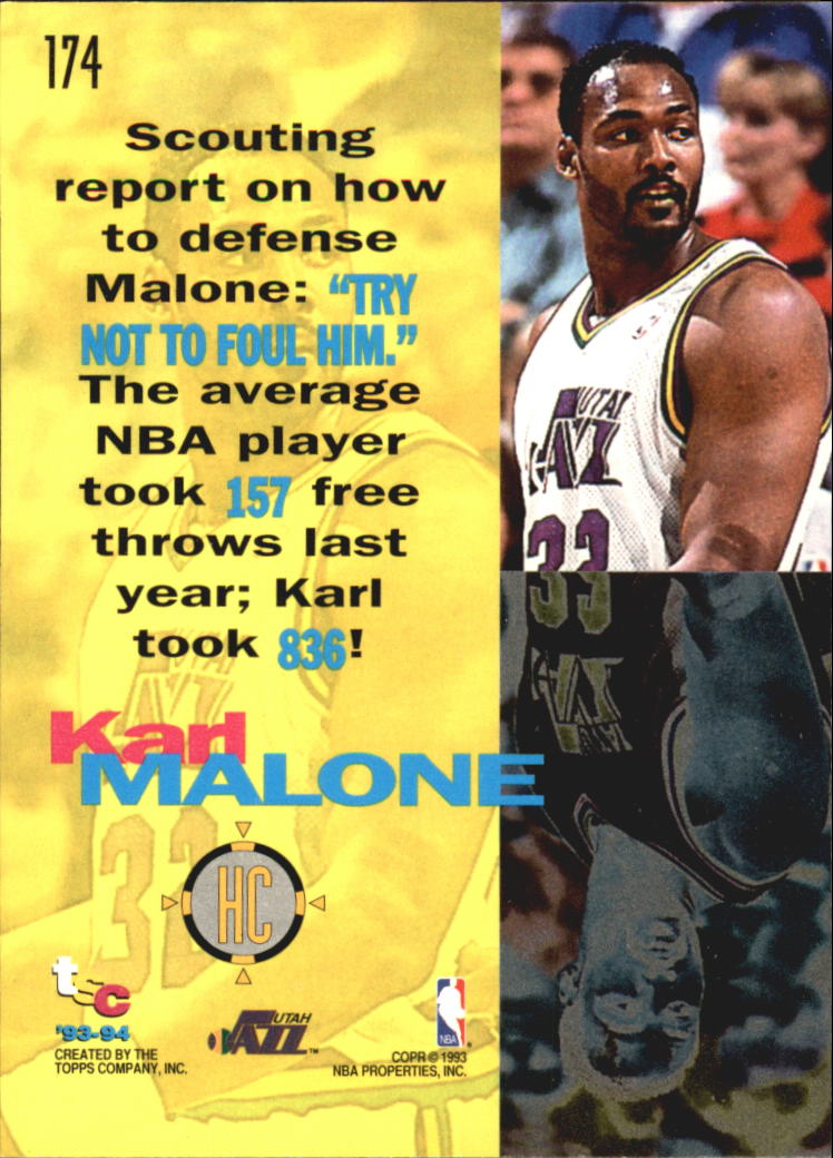1993-94 Stadium Club Super Teams NBA Finals #174 Karl Malone HC back image