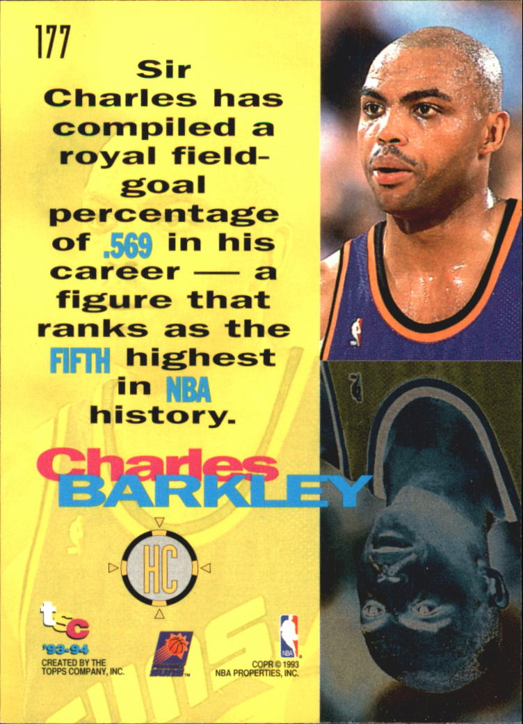 1993-94 Stadium Club Super Teams NBA Finals #177 Charles Barkley HC back image