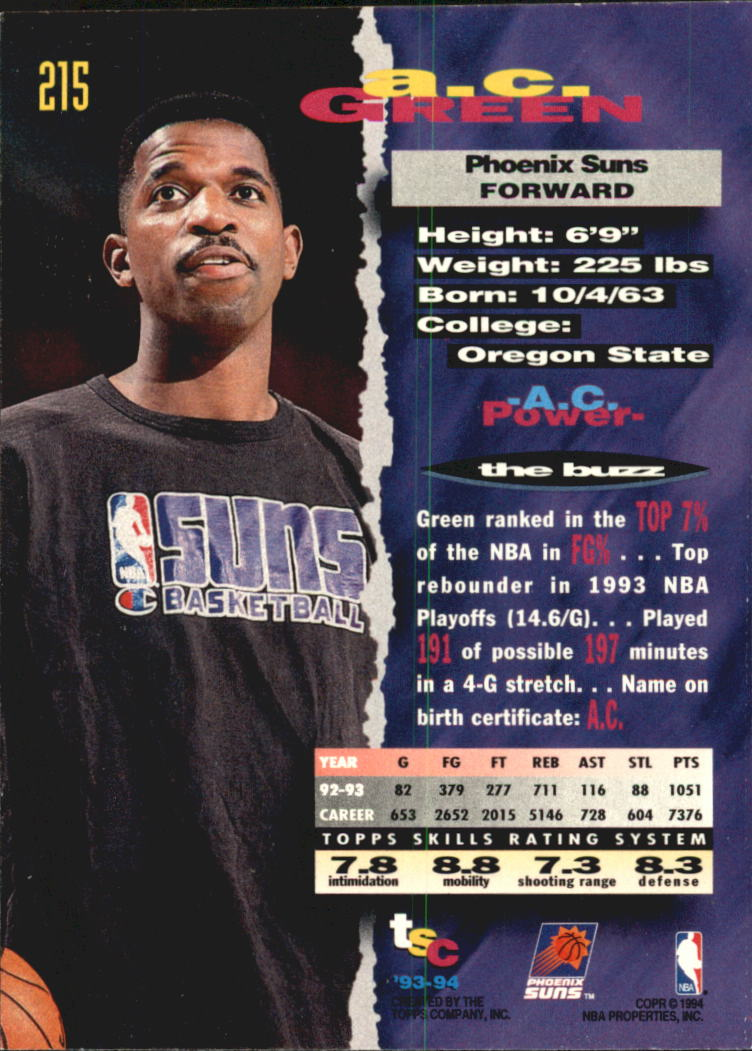 1993-94 Stadium Club Super Teams NBA Finals #215 A.C. Green
