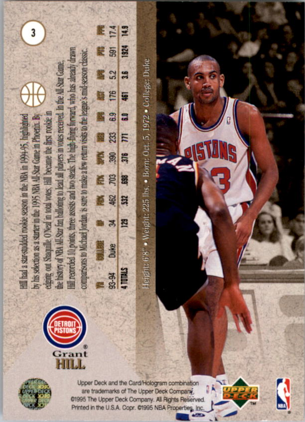 1994-95 SP #3 Grant Hill FOIL RC back image