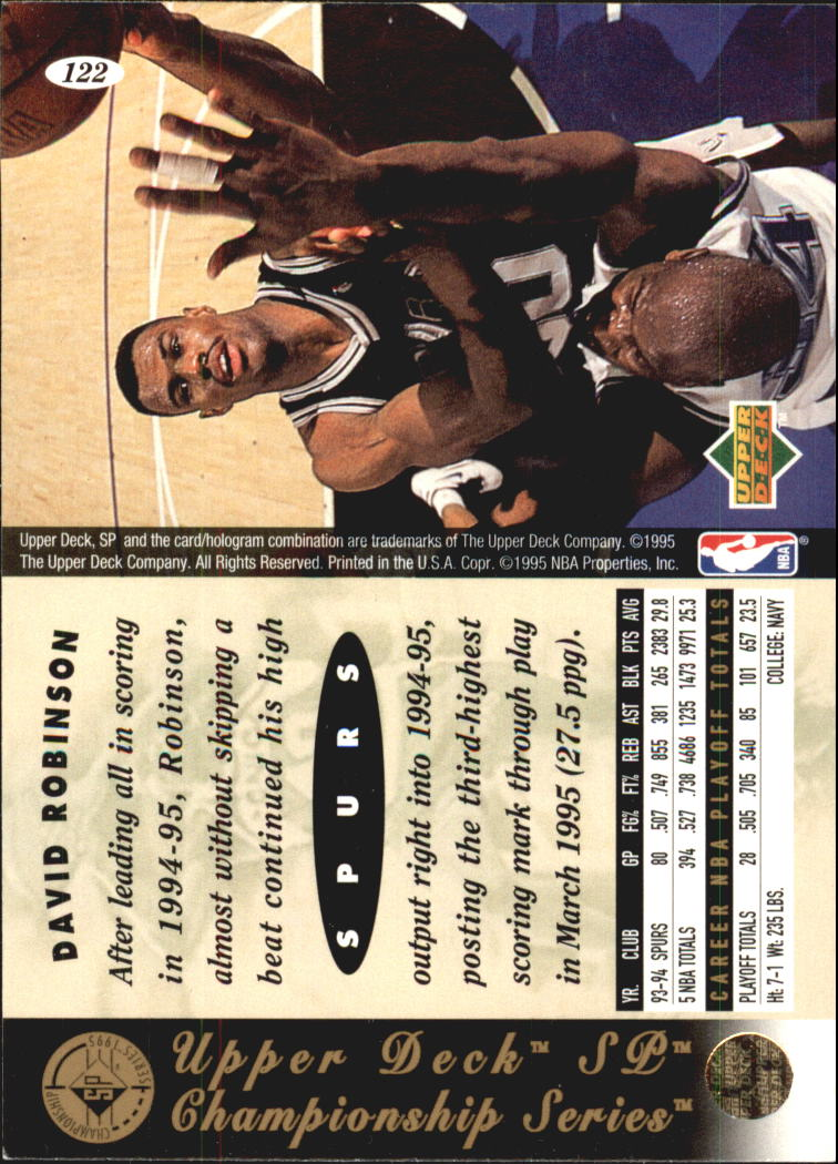 1994-95 SP Championship #122 David Robinson back image