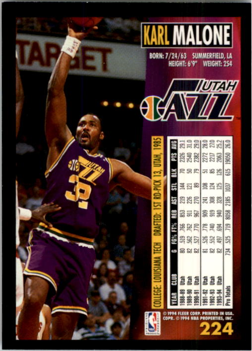 1994-95 Fleer #224 Karl Malone back image