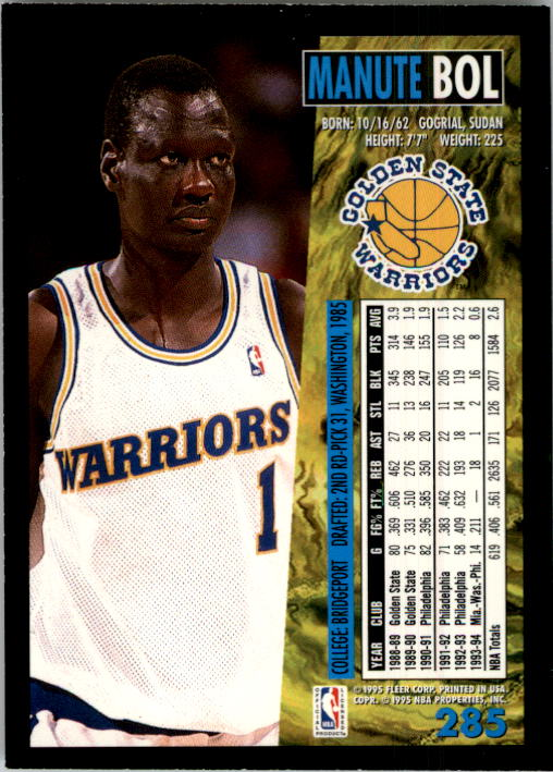 1994-95 Fleer #285 Manute Bol back image