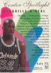 1994-95 Flair Center Spotlight #4 Shaquille O'Neal back image