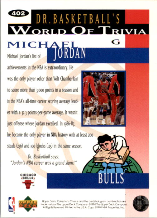 1994-95 Collector's Choice #402 Michael Jordan TRIV back image
