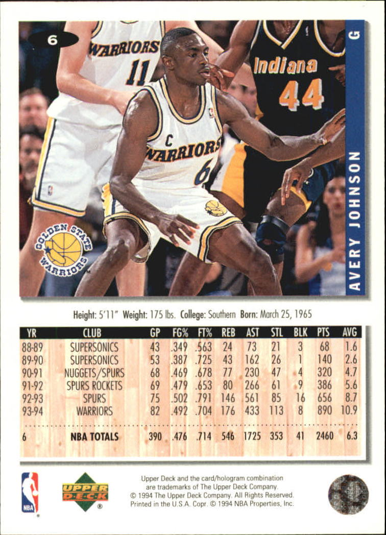 1994-95 Collector's Choice Silver Signature #6 Avery Johnson back image