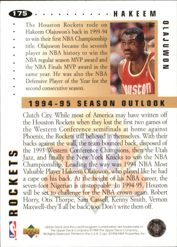 1994-95 Collector's Choice Silver Signature #175 Hakeem Olajuwon TO back image