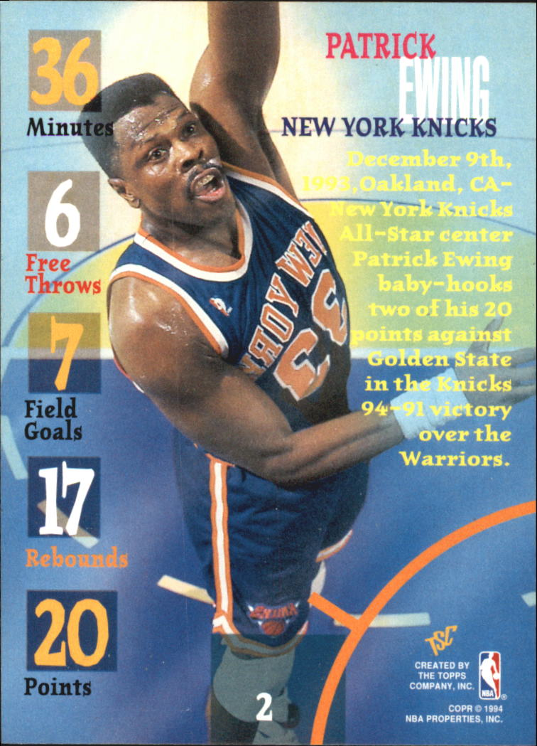 1994-95 Stadium Club Super Teams NBA Finals #2 Patrick Ewing TG back image