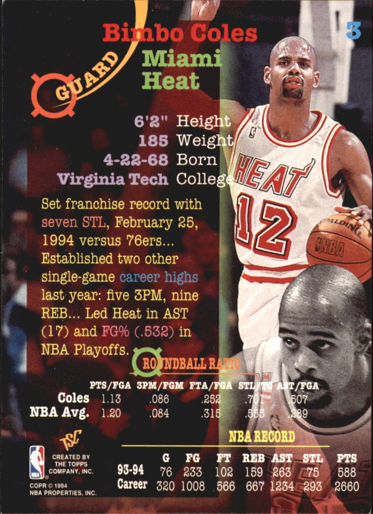 1994-95 Stadium Club Super Teams NBA Finals #3 Bimbo Coles back image