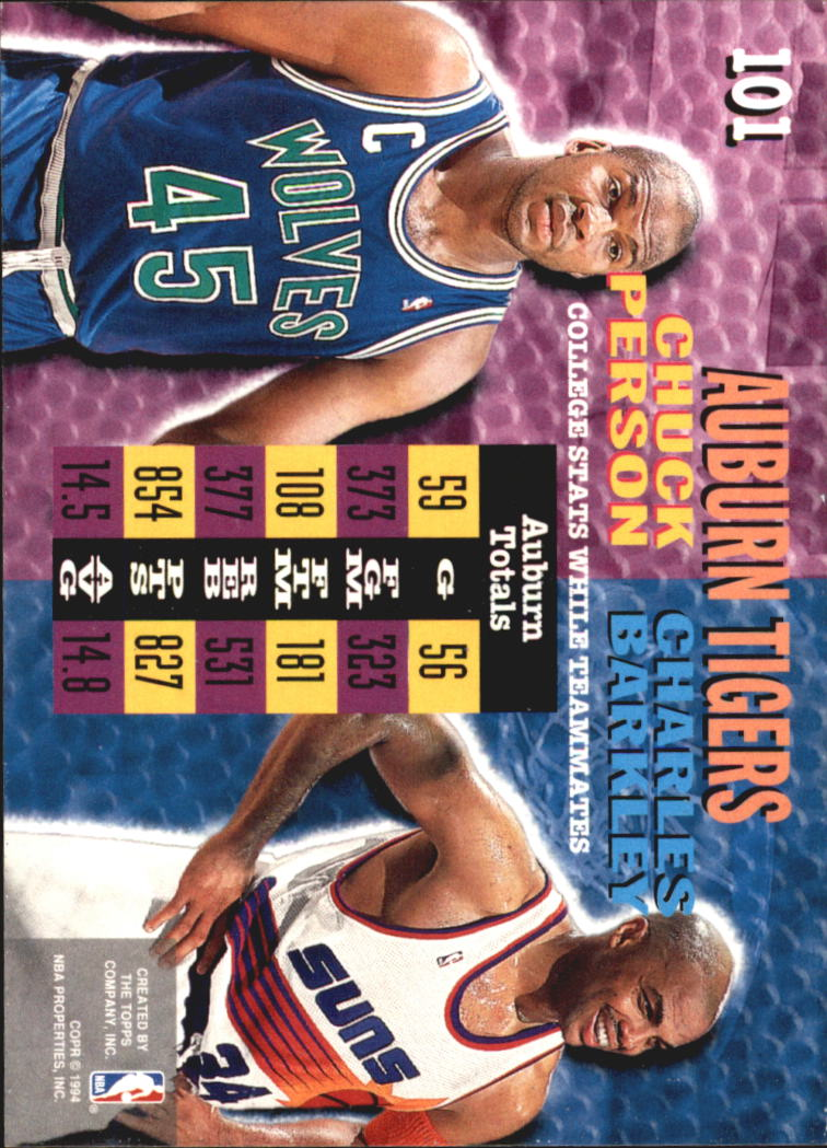 1994-95 Stadium Club Super Teams NBA Finals #101 Chuck Person CT/Charles Barkley CT back image