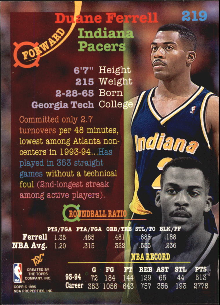 1994-95 Stadium Club Super Teams NBA Finals #219 Duane Ferrell back image