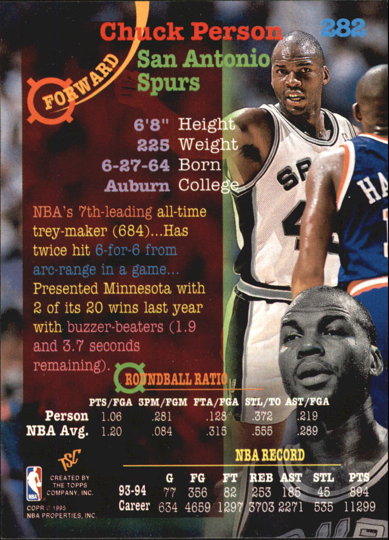 1994-95 Stadium Club Super Teams NBA Finals #282 Chuck Person back image