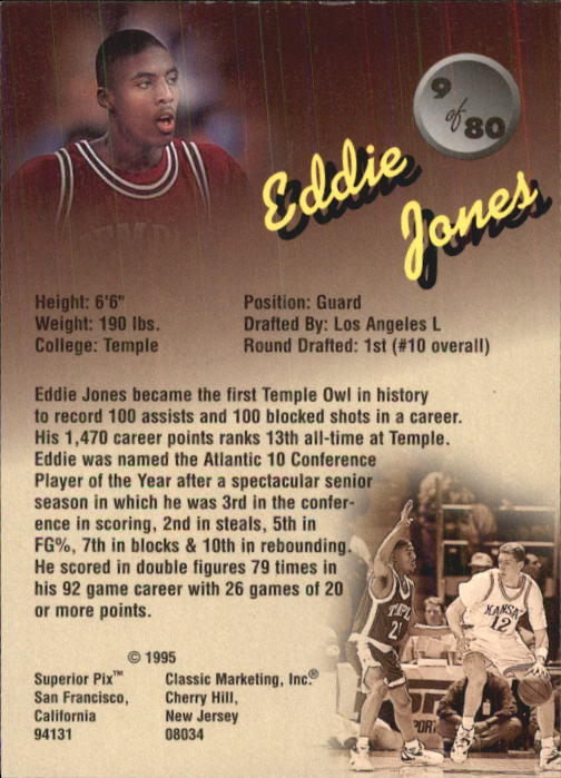 1995 Superior Pix #9 Eddie Jones