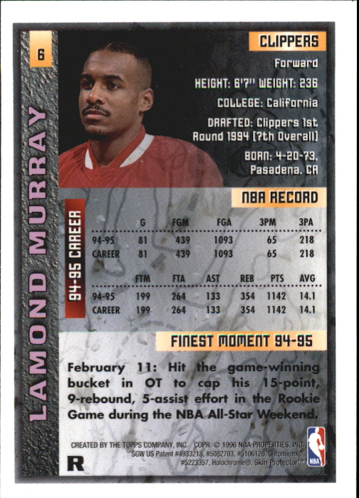 1995-96 Finest Refractors #6 Lamond Murray back image