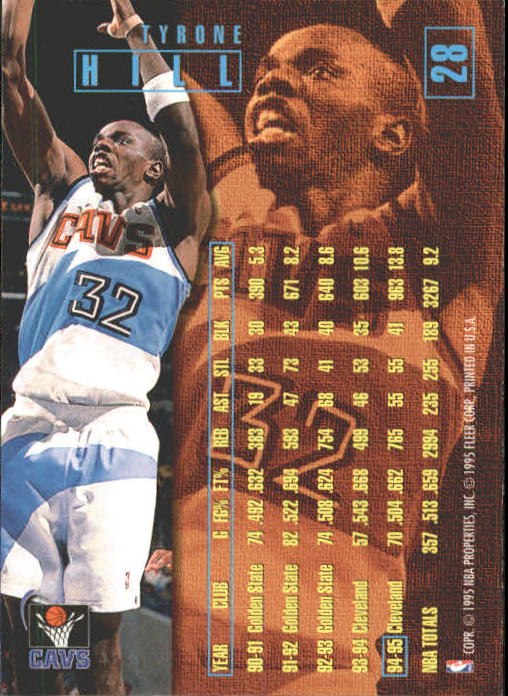 1995-96 Fleer #28 Tyrone Hill back image