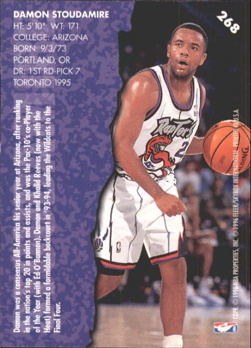 1995-96 Fleer #268 Damon Stoudamire ET back image