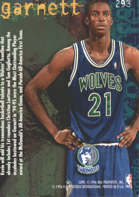 1995-96 Fleer #293 Kevin Garnett RC back image