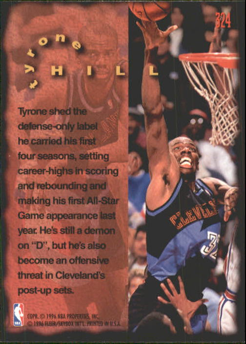 1995-96 Fleer #324 Tyrone Hill FF back image