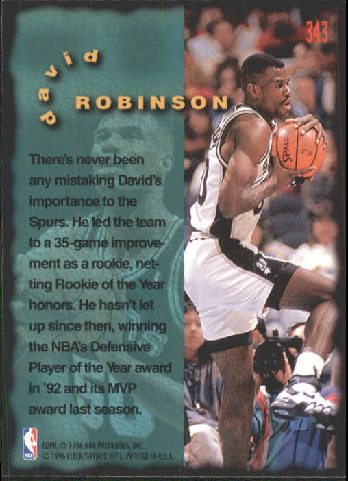 1995-96 Fleer #343 David Robinson FF back image