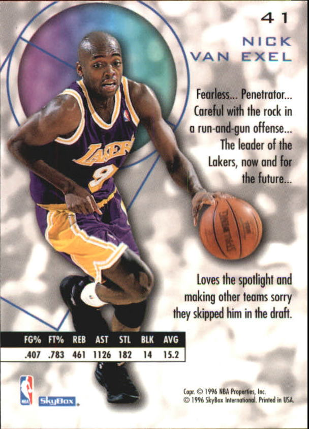 1995-96 E-XL #41 Nick Van Exel back image
