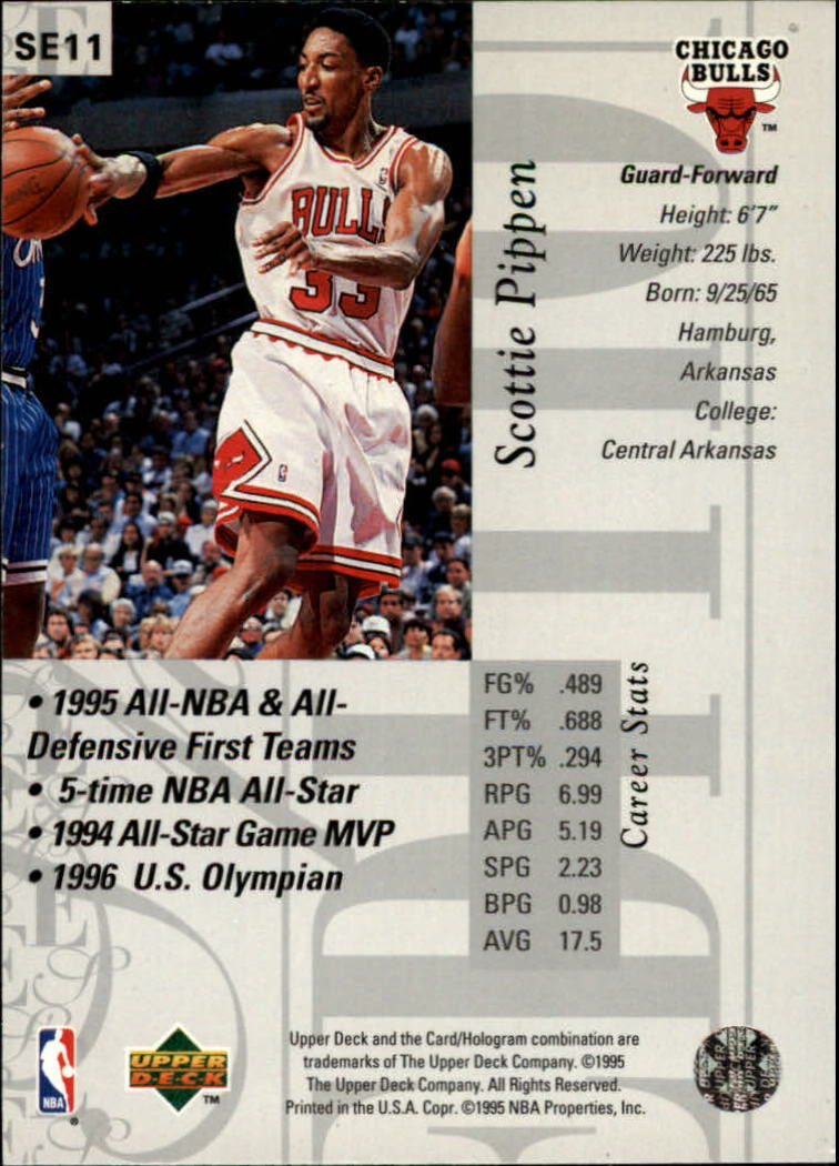 1995-96 Upper Deck Special Edition #11 Scottie Pippen back image