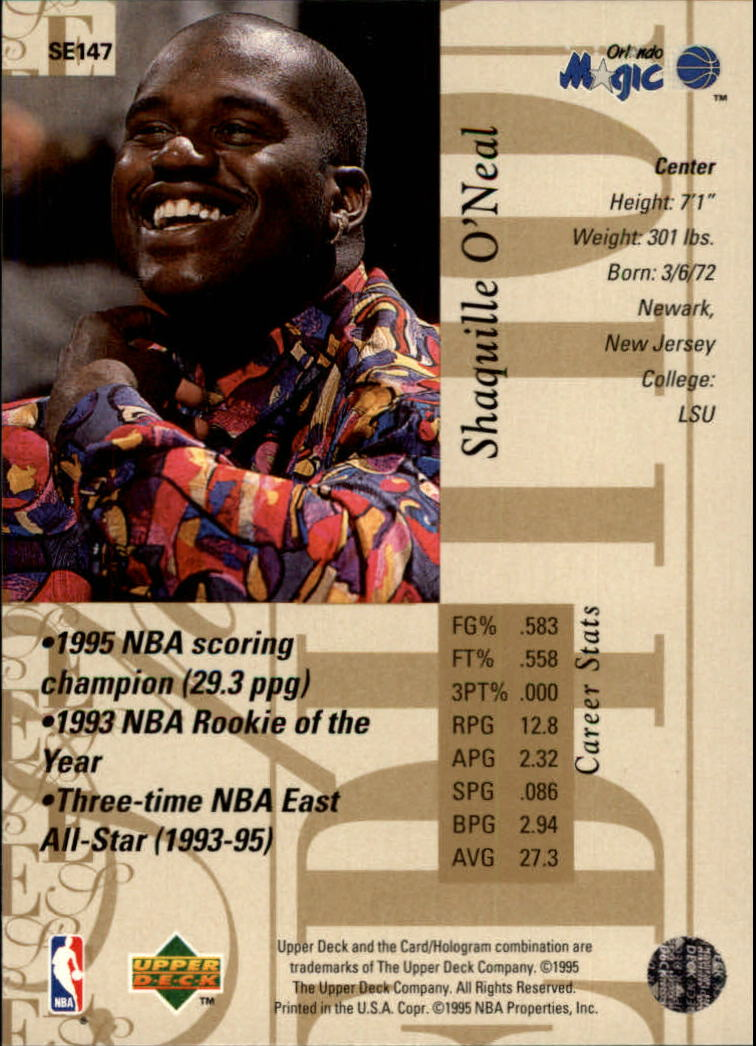 1995-96 Upper Deck Special Edition Gold #147 Shaquille O'Neal back image
