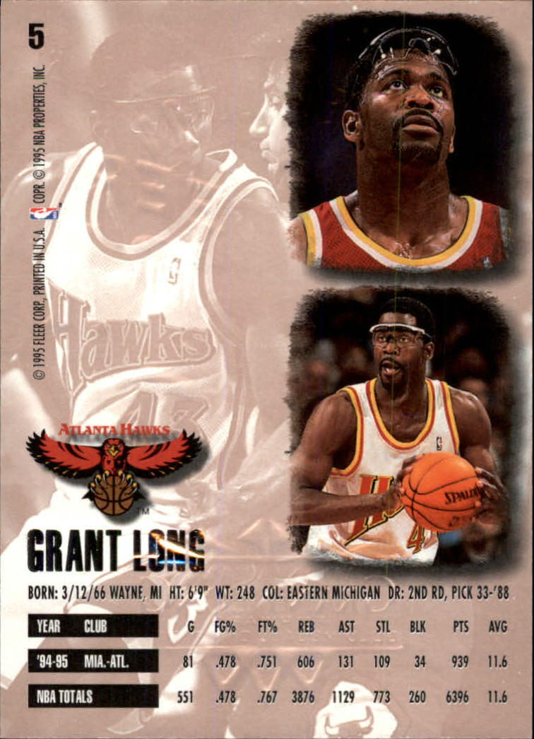 1995-96 Ultra Gold Medallion #5 Grant Long back image