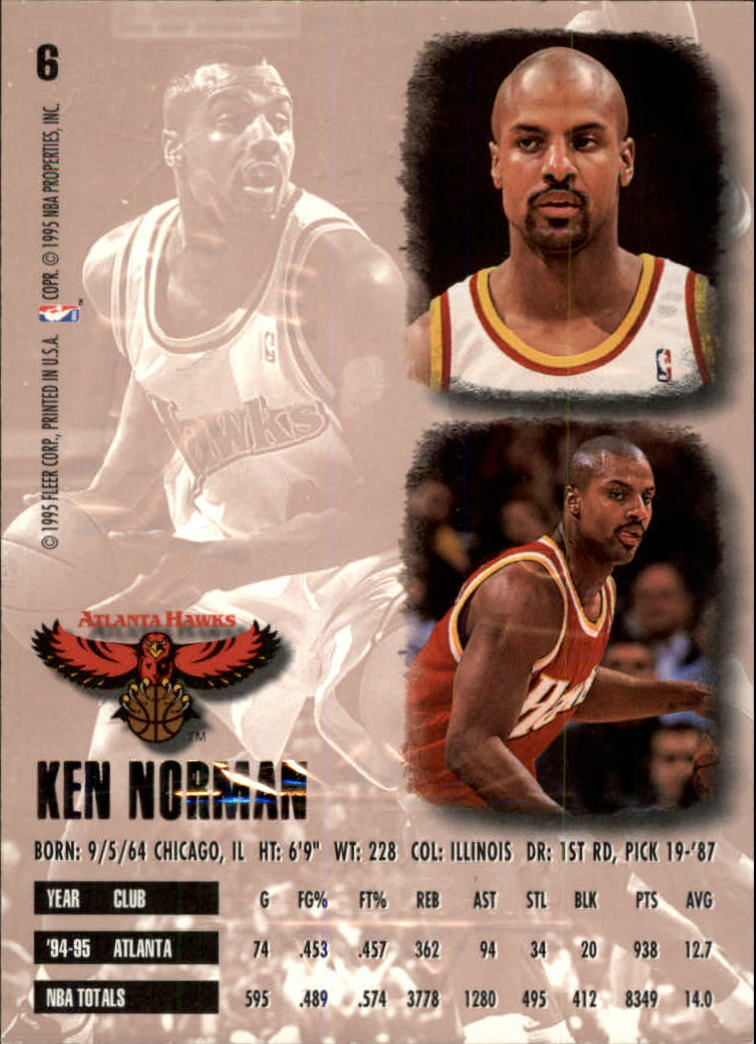 1995-96 Ultra Gold Medallion #6 Ken Norman back image