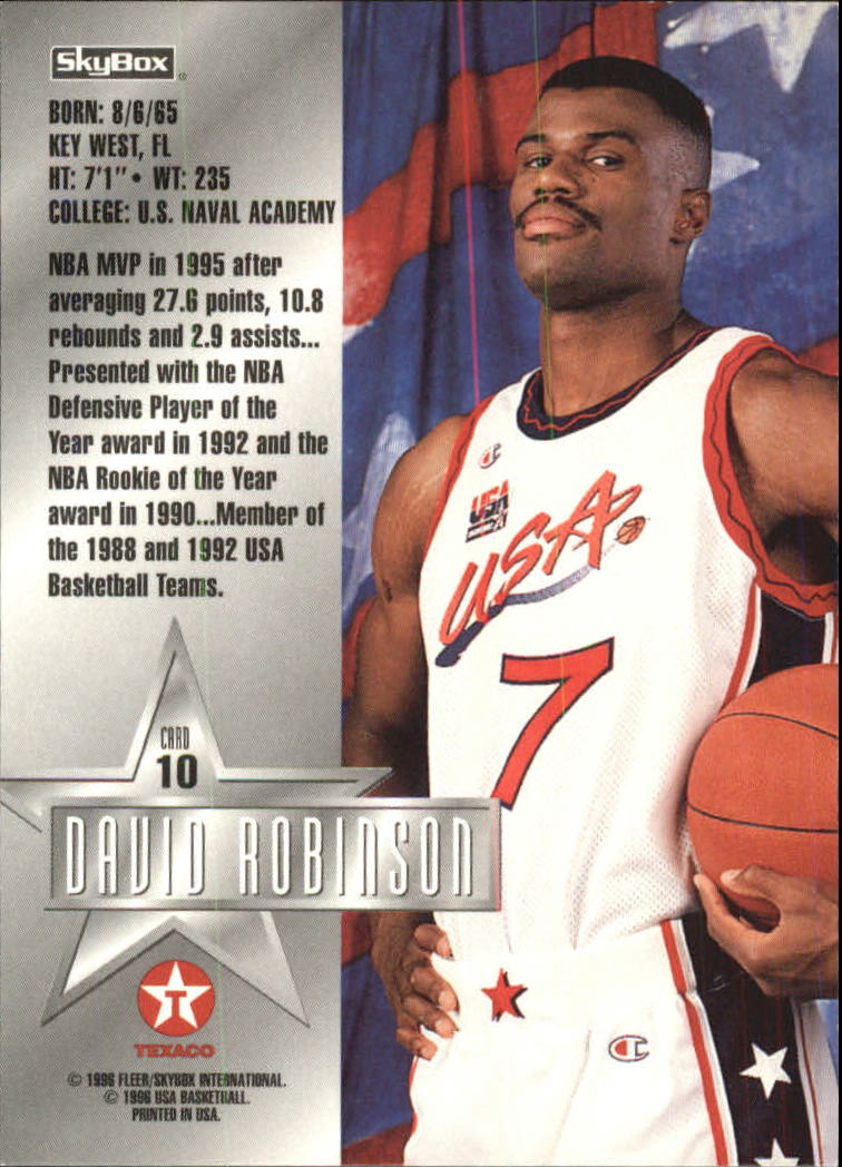 1996 SkyBox USA Texaco #10 David Robinson