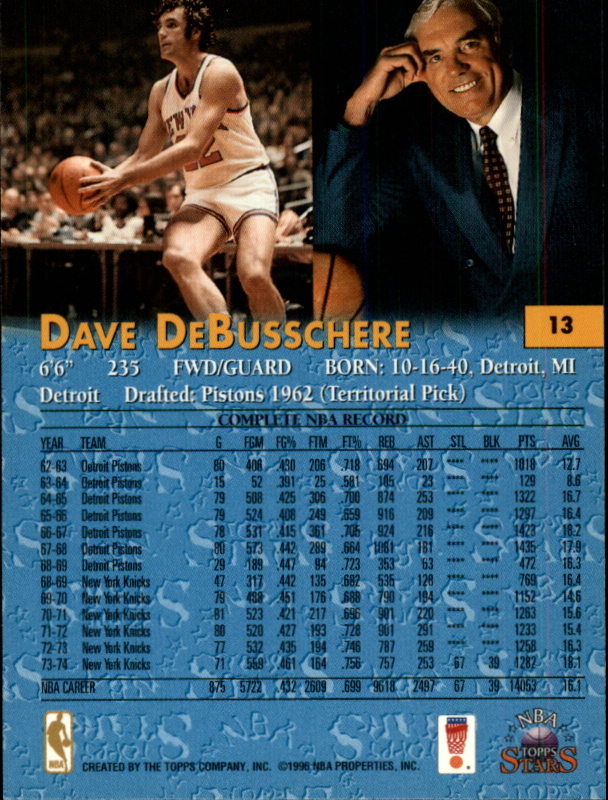 1996 Topps Stars #13 Dave DeBusschere back image
