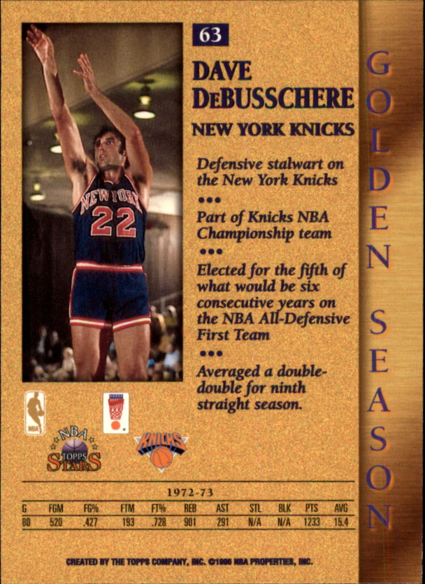 1996 Topps Stars #63 Dave DeBusschere GS back image