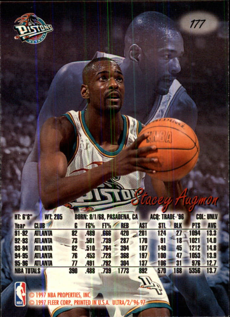1996-97 Ultra #177 Stacey Augmon back image