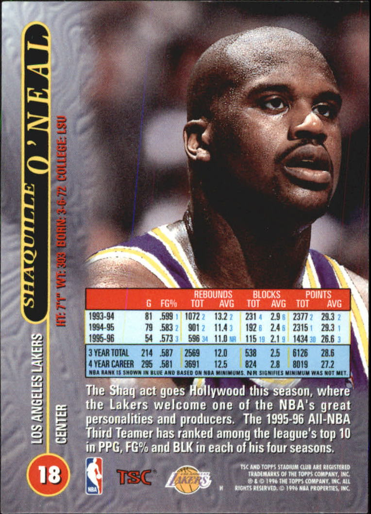 1996-97 Stadium Club Matrix #18 Shaquille O'Neal back image