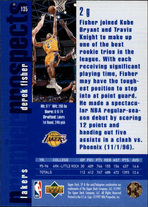1996-97 SP #135 Derek Fisher RC back image