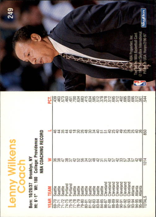 1996-97 Hoops #249 Lenny Wilkens CO back image