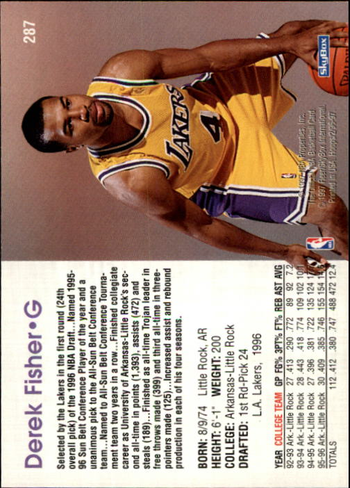 1996-97 Hoops #287 Derek Fisher RC back image