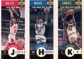 1996-97 Collector's Choice Mini-Cards Gold #M78 Michael Jordan/Anfernee Hardaway/Shawn Kemp