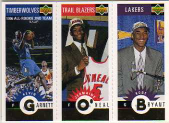 1996-97 Collector's Choice Mini-Cards Gold #M129 Kobe Bryant/Jermaine O'Neal/Kevin Garnett front image