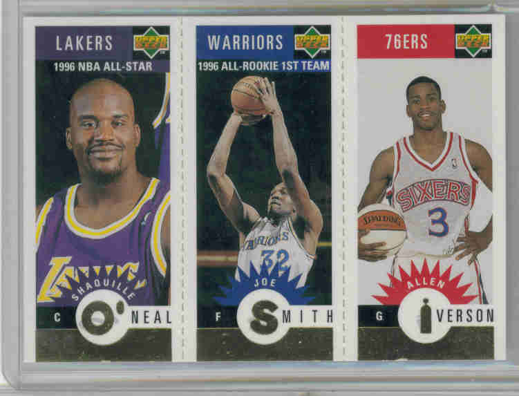 1996-97 Collector's Choice Mini-Cards Gold #M152 Allen Iverson/Joe Smith/Shaquille O'Neal