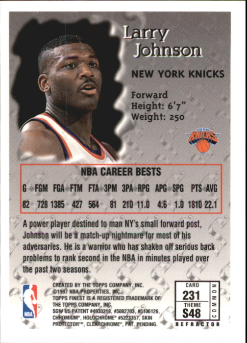 1996-97 Finest Refractors #231 Larry Johnson B back image