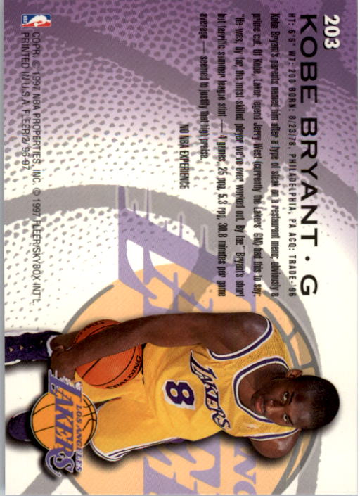 1996-97 Fleer #203 Kobe Bryant RC back image