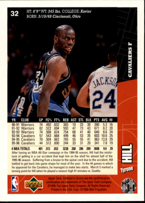 1996-97 Collector's Choice #32 Tyrone Hill back image