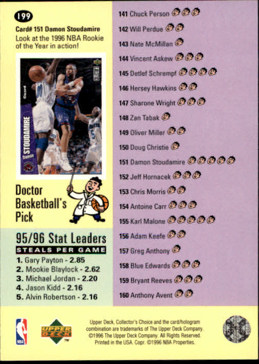 1996-97 Collector's Choice #199 Damon Stoudamire/Avery Johnson CL back image