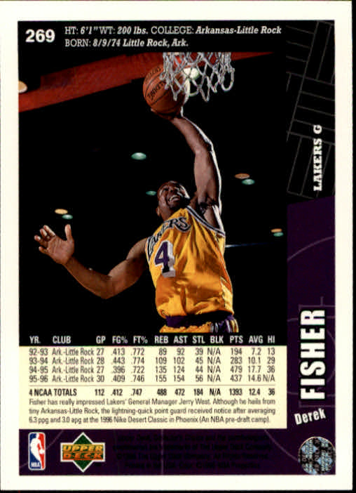 1996-97 Collector's Choice #269 Derek Fisher RC back image