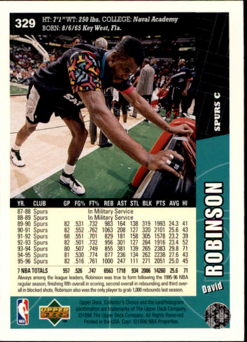 1996-97 Collector's Choice #329 David Robinson back image
